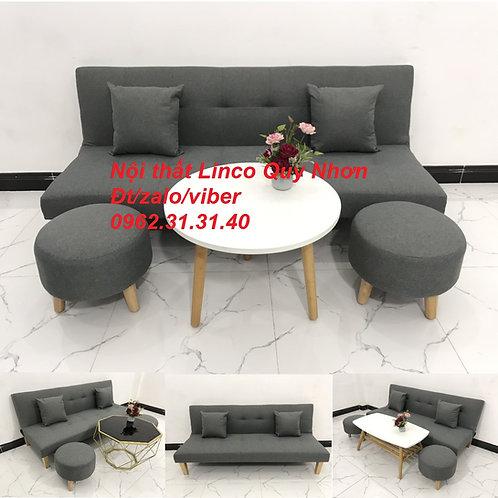 Bộ bàn ghế sofa giường sofa bed SFG09 xám lông chuột đậm đen Sofa Linco Quy Nhơn