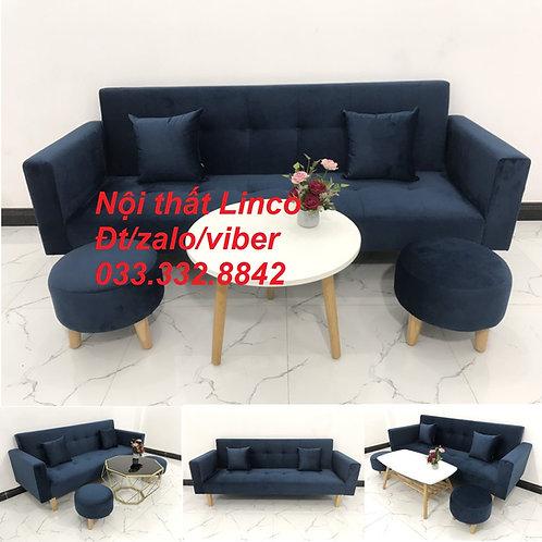 Bộ bàn ghế sofa giường sofa bed (băng) màu xanh dương đậm đen Nội thất Linco HCM