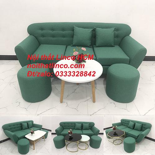 Bộ bàn ghế sofa băng văng màu xanh ngọc lá cây giá rẻ nhỏ đẹp Nội thất Linco HCM