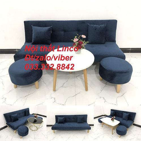 Bộ ghế sofa bed bật thành giường xanh dương đậm đen vải nhung đẹp rẻ Linco Tphcm