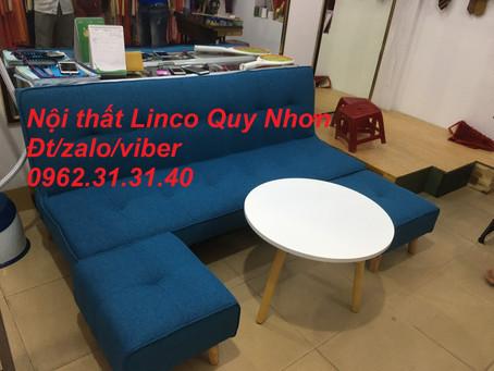 Bộ ghế sofa bed, sofa giường xanh dương Nội thất Linco tại chung cư Long Thịnh, Quy Nhơn