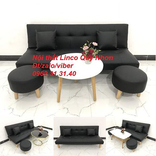 Bộ bàn ghế sofa giường sofa bed SFG03 simili giả da đen Nội thất Linco Quy Nhơn