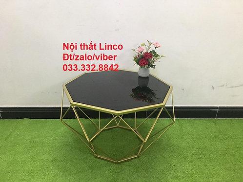Bàn trà sofa phòng khách BSF01 kim cương đen kính cường lực Nội thất Linco HCM