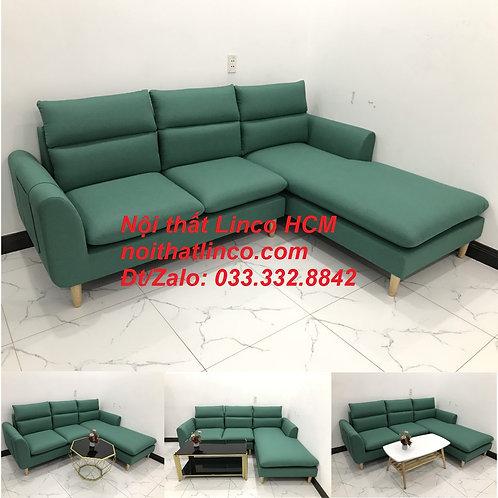 Bộ ghế sofa góc L phòng khách màu xanh ngọc lá cây đẹp  | Nội thất Linco Tphcm