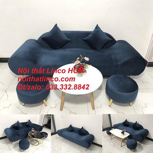 Bộ ghế sopha sofa văng băng thuyền màu xanh dương đậm đen giá rẻ Sofa Linco HCM