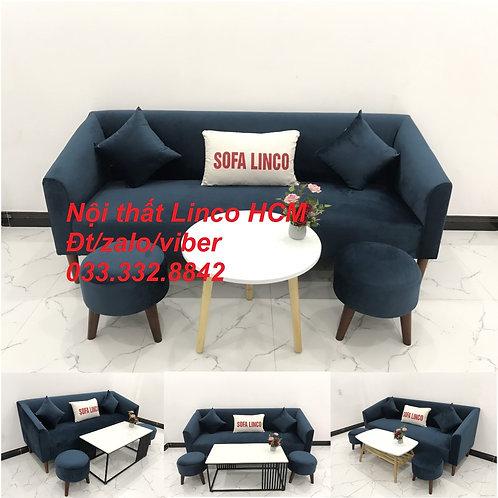Bộ bàn ghế Sofa băng văng dài xanh dương đậm giá rẻ vải nhung Nội thất Linco HCM