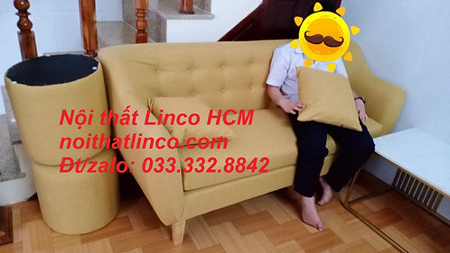 Ghế sofa 1m7, sofa băng màu vàng vải nhỏ gọn giá rẻ | Nội thất Linco HCM Tphcm