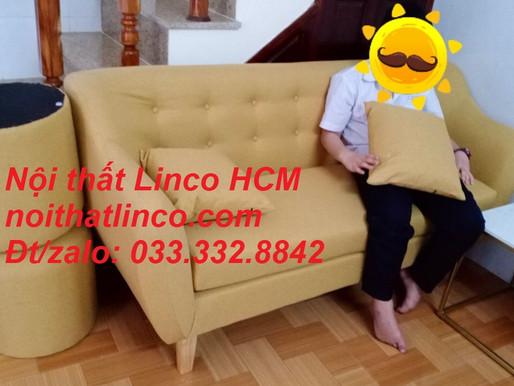 Bộ ghế sofa dài 1m7, sofa băng màu vàng vải nhỏ gọn giá rẻ | Nội thất Linco TpHCM Đồng Nai Long An