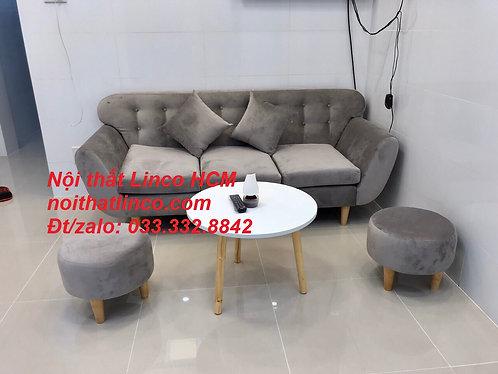 Ghế sofa băng giá rẻ | Sofa màu xám trắng xám tro bạc vải 1m9 Nội thất Linco HCM