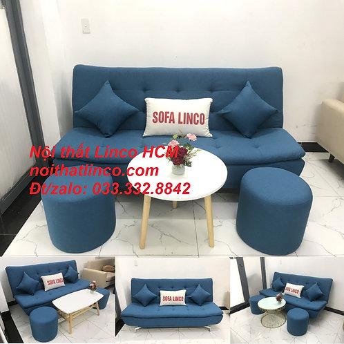 Bộ bàn ghế Sofa bed sofa giường (băng) xanh dương da trời rẻ đẹp Nội thất Linco