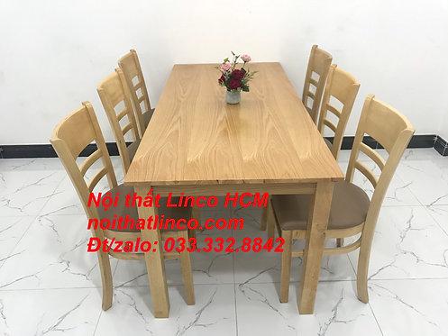 Set bàn ăn cabin 6 ghế gỗ cao su tự nhiên | Nội thất Linco Quy Nhơn Bình Định