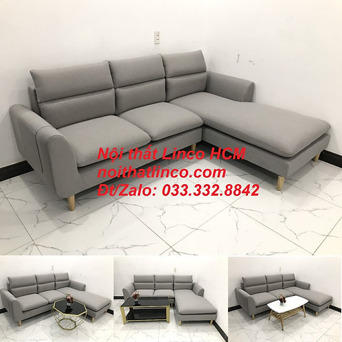 Sofa góc giá rẻ | Ghế sofa góc L xám trắng đẹp giá rẻ nhỏ | Nội thất Linco Tphcm