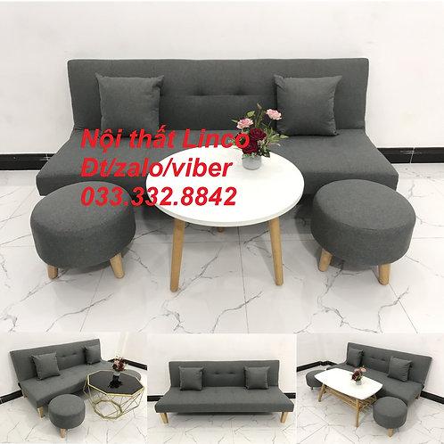 Bộ bàn ghế sofa giường sofa bed xám lông chuột đậm đen giá rẻ Nội thất Linco HCM