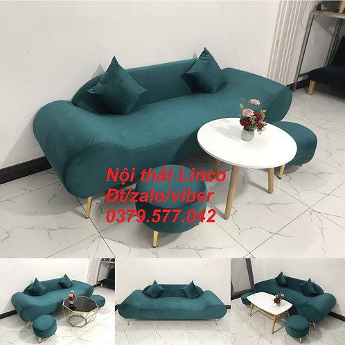 Bộ bàn ghế sofa băng văng thuyền màu xanh lá cây cổ vịt rẻ đẹp Linco Quy Nhơn BĐ