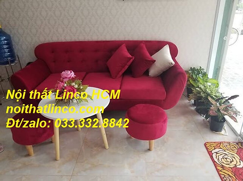 Sofa văng dài 1m9 | Sofa băng màu đỏ đô tươi vải nhung mềm | Nội thất Linco HCM