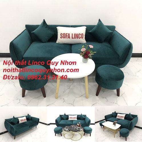 Bộ ghế sofa sopha băng xanh lá cây cổ vịt vải nhung rẻ | Nội thất Linco Quy Nhơn