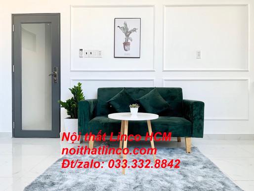 Ghế sofa dài 1m5 | Sofa băng nhỏ đa năng màu xanh rêu đậm | Nội thất Linco Tphcm Bình Dương Đồng Nai