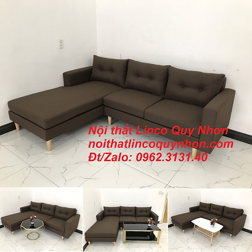 Bộ ghế sofa góc nâu cafe đen đậm giá rẻ đẹp   Nội thất Linco Quy Nhơn Bình Định