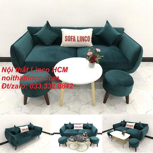 Bộ bàn ghế Sofa băng xanh cổ vịt lá cây vải nhung giá rẻ đẹp Nội thất Linco HCM