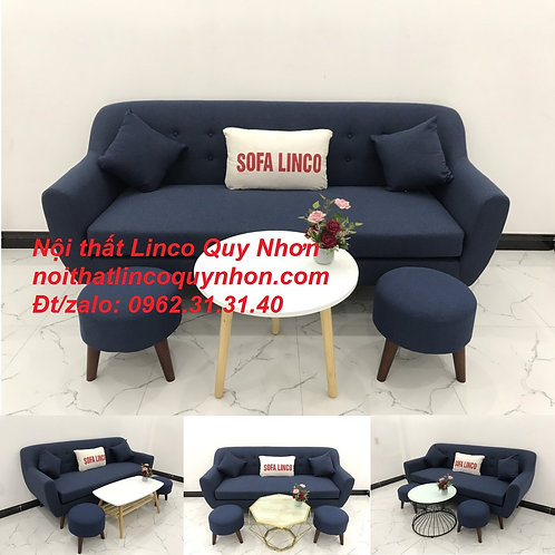 Bộ ghế sopha Sofa băng giá rẻ vải bố xanh dương đậm rẻ | Nội thất Linco Quy Nhơn