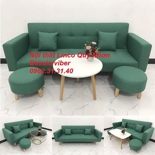 Bộ bàn ghế sofa giường tay vịn băng dài xanh lá ngọc rẻ Nội thất Linco Quy Nhơn