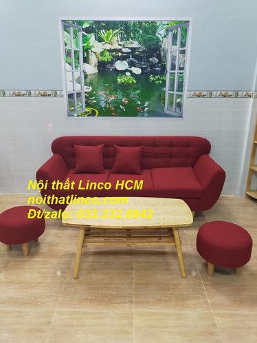 Bộ ghế sofa băng giá rẻ | Sofa màu đỏ đô đậm dài 1m9 vải bố | Nội thất Linco HCM