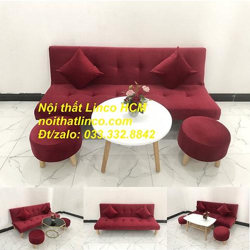 Bộ ghế sofa giường màu đỏ đô vải nhung Nội thất Linco HCM