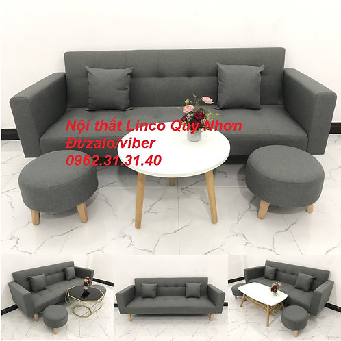 Bộ bàn ghế sofa giường bed băng đa năng xám lông chuột đậm đen rẻ Sofa Linco BĐ