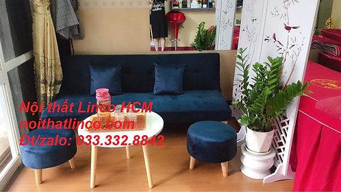 Sofa giường giá rẻ GTT03 | Sofa bed xanh dương đậm vải nhung |Nội thất Linco HCM