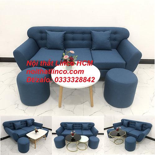 Sofa băng nhỏ giá rẻ | Sofa văng màu xanh dương nước biển | Nội thất Linco Tphcm