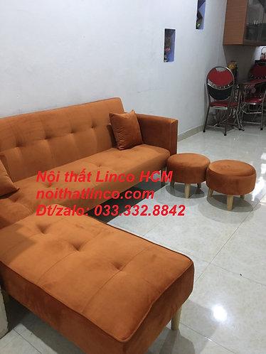 Combo ghế sofa giường GTT08 màu cam vải nhung mềm giá rẻ   Nội thất Linco Tphcm