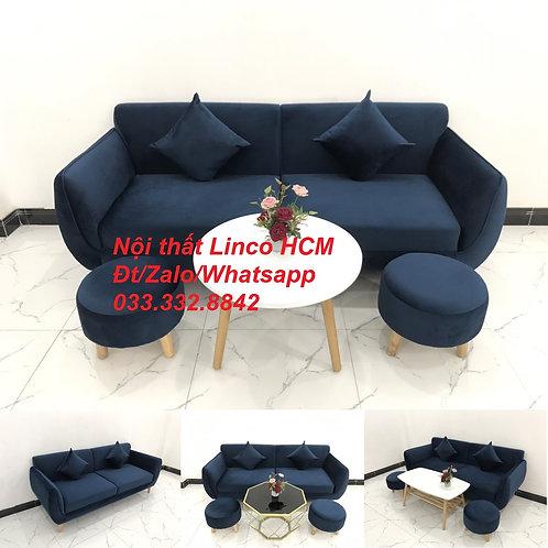 Bộ ghế sofa băng màu xanh dương đen đậm vải nhung giá rẻ đẹp Nội thất Linco HCM