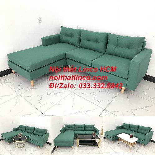 Bộ ghế sofa góc 2m2 giá rẻ, ghế sofa góc vải màu xanh ngọc | Nội thất Linco HCM