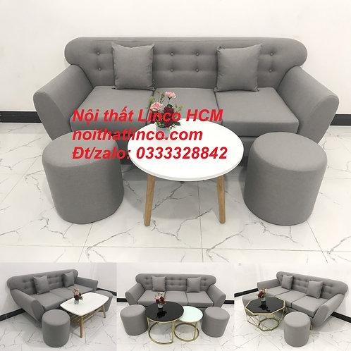 Bộ bàn ghế sofa băng màu xám trắng ghi, sofa xám tro giá rẻ | Nội thất Linco HCM