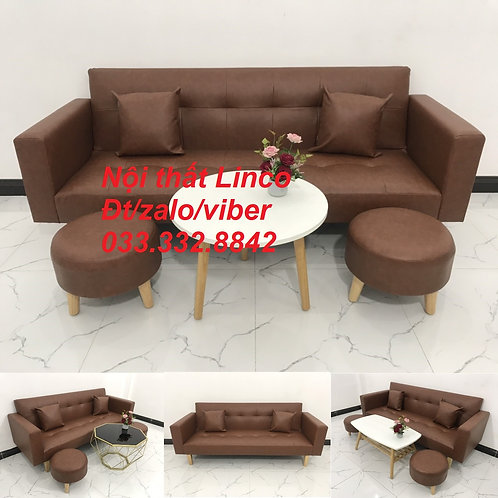 Bộ bàn ghế sofa bed sofa giường băng 2m simili nâu cafe giả da rẻ Sofa Linco HCM