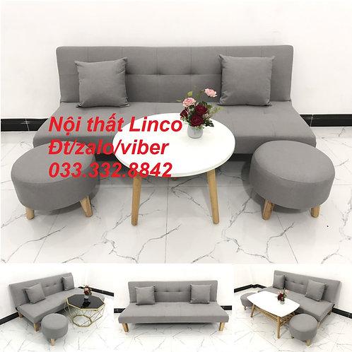 Bộ bàn ghế sofa bed, sofa giường xám trắng ghi tro bạc giá rẻ Nội thất Linco HCM