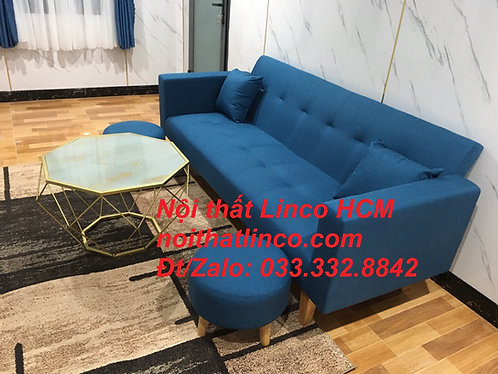 Bộ ghế sofa sopha băng giường nằm xanh dương nước biển giá rẻ Nội thất Linco HCM