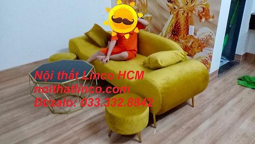 Sofa băng giá rẻ   Sofa văng thuyền phòng khách màu vàng đồng Nội thất Linco HCM