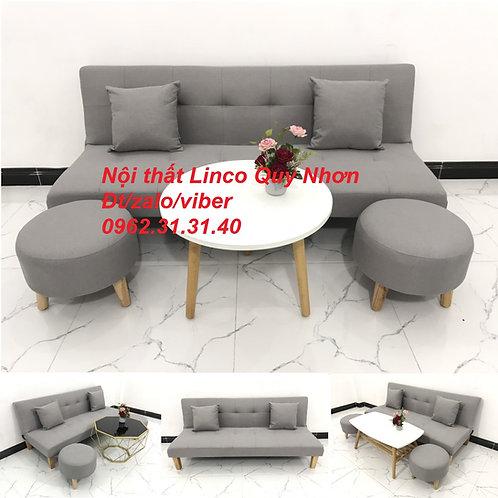Bộ bàn ghế Sofa giường sofa bed SFG01 xám trắng giá rẻ Nội thất Linco Quy Nhơn