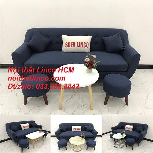 Bộ bàn ghế sopha salon Sofa băng xanh dương đậm đen Nội thất Linco Tphcm Sài Gòn