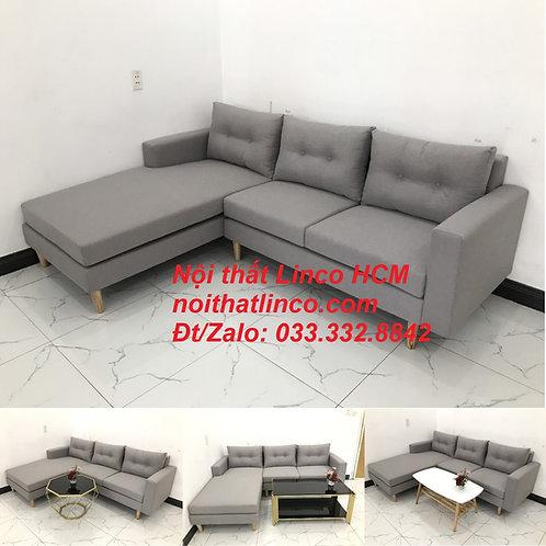 Bộ ghế sofa góc L màu xám ghi trắng, sofa góc giá rẻ nhỏ | Nội thất Linco Tphcm