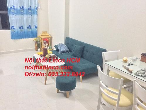 Ghế sofa vải nỉ | sofa giường GTT09 màu xanh rêu giá rẻ nhỏ | Nội thất Linco HCM