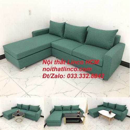 Bộ ghế sofa góc L xanh ngọc lá cây giá rẻ đẹp đơn giản | Nội thất Linco Tphcm SG