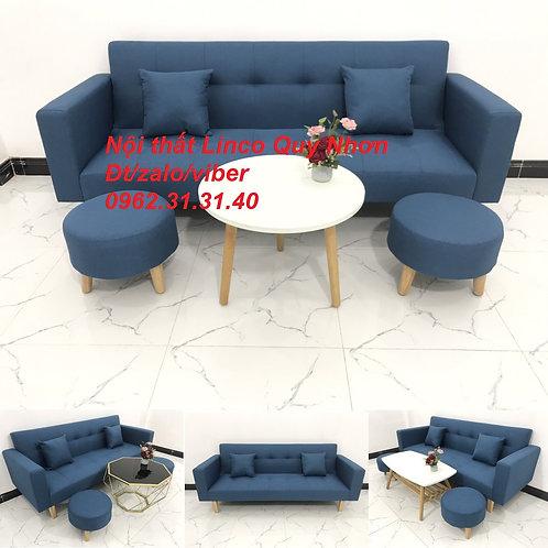 Bộ ghế sofa giường bed băng tay vịn  đa năng xanh dương Nội thất Linco Quy Nhơn
