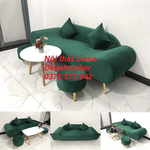 Bộ ghế sofa văng băng thuyền màu xanh rêu lá cây giá rẻ Nội thất Linco Bình Định