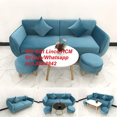 Bộ ghế sofa băng dài 1m9 nhỏ màu xanh dương nước biển giá rẻ Nội thất Linco HCM