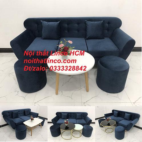 Sofa băng giá rẻ vải nhung đẹp | Ghế sofa văng xanh dương đậm Nội thất Linco HCM