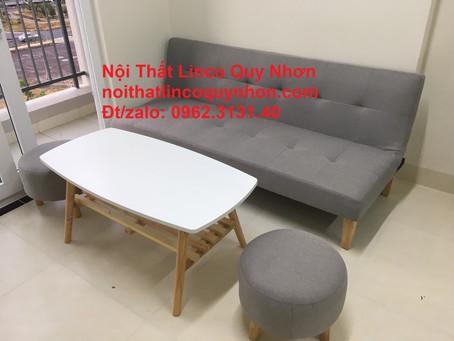 Bộ sofa bed, giường xám trắng Nội thất Linco tại chung cư lamer, Quy Nhơn - Bình Định