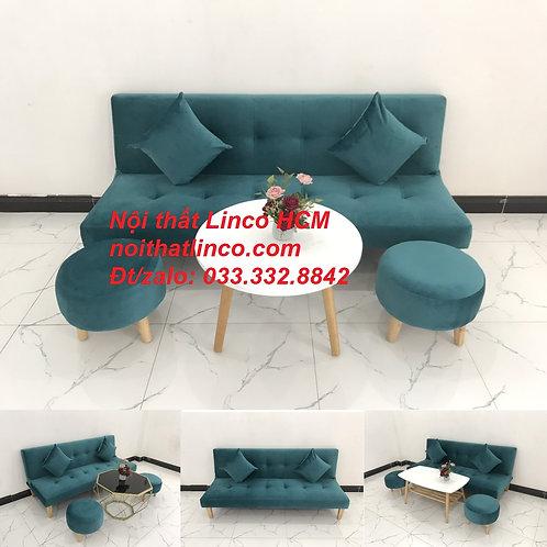 Bộ ghế sofa giường màu xanh lá cây cổ vịt vải nhung mềm Nội thất Linco HCM