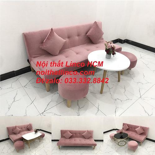 Bộ ghế sofa bed giường nhỏ gọn màu hồng hường vải nhung Nội thất Linco HCM